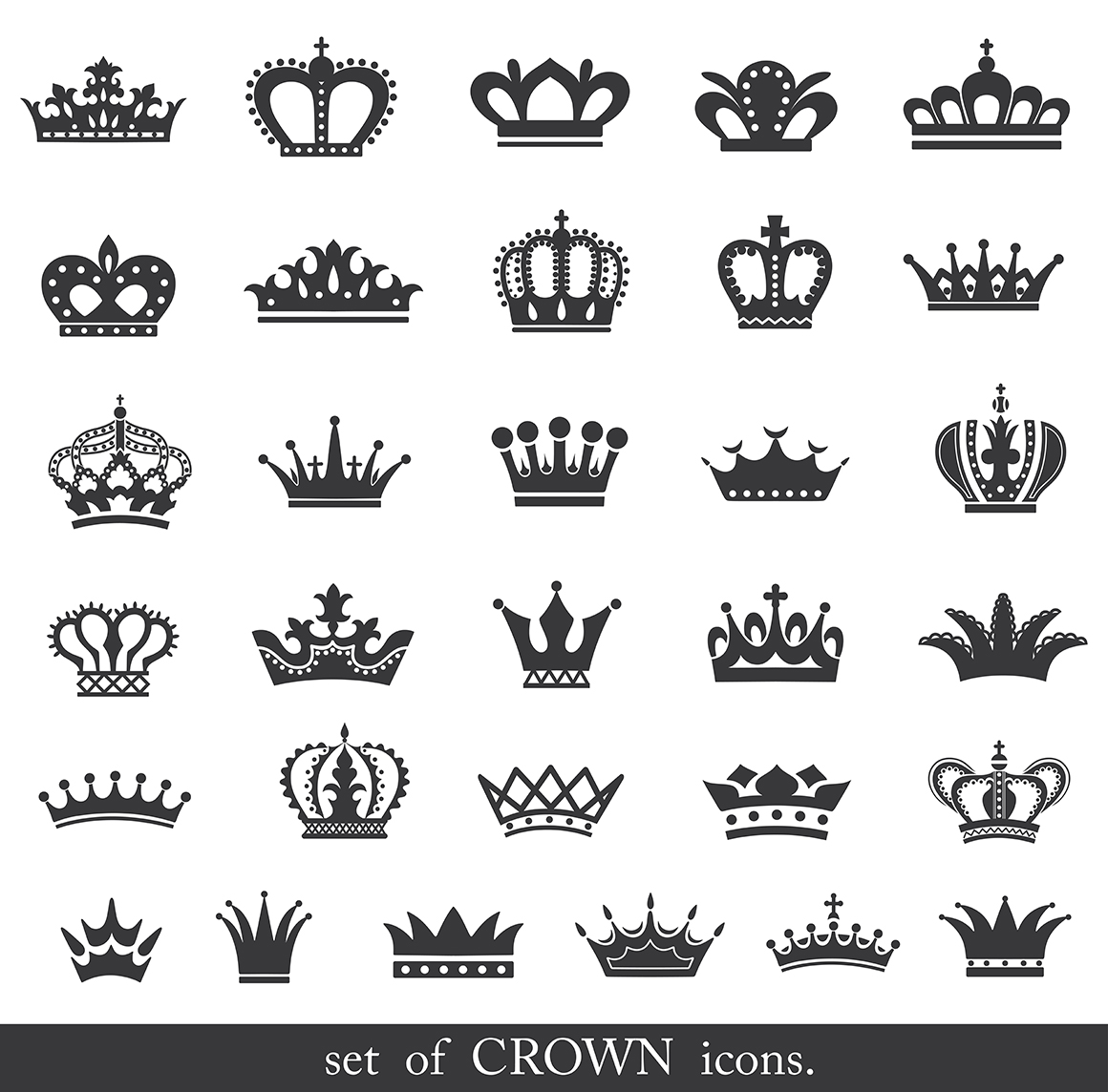 Set Of Gold Crown Icons Flat Crown Icons In Black In