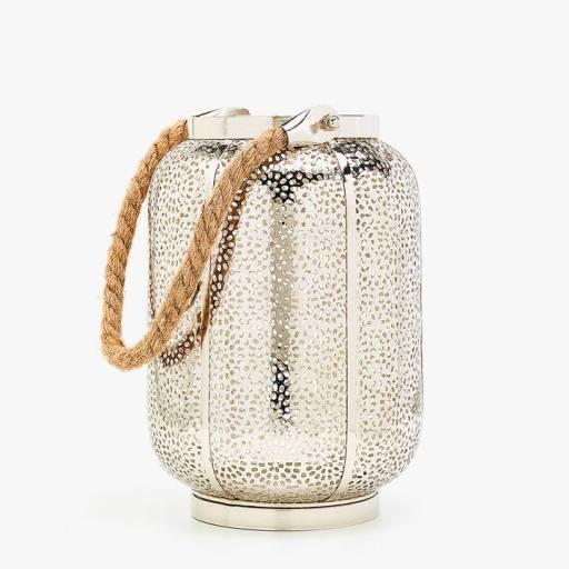 Image du produit Lanterne métallique avec poignée en jute