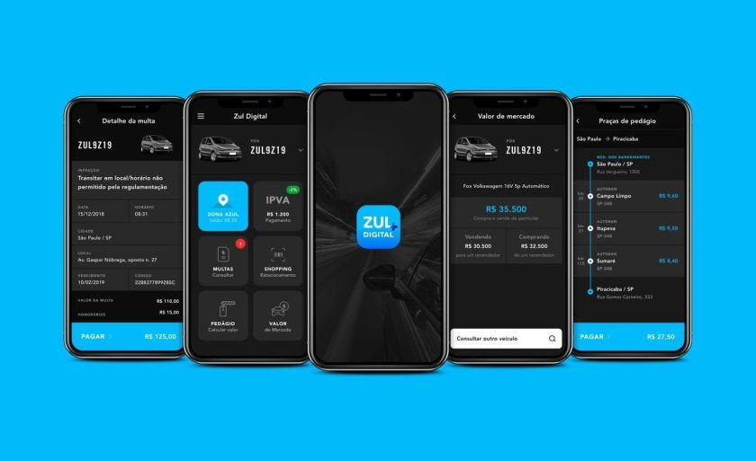 telas do celular no aplicativo zul+