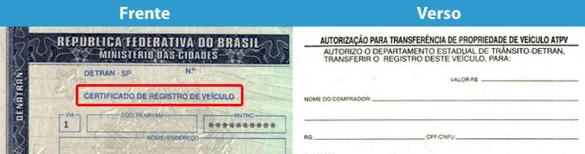 código de segurança documento de transferencia do carro CRV frente e verso