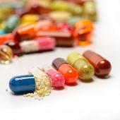 image of pills  - various pills isolated on white - JPG