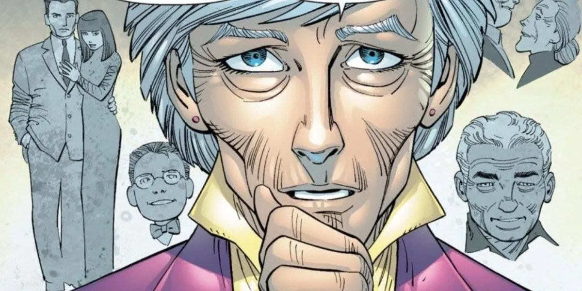 Aunt may, with Uncle Ben's and young Peter Parker's heads in the background.