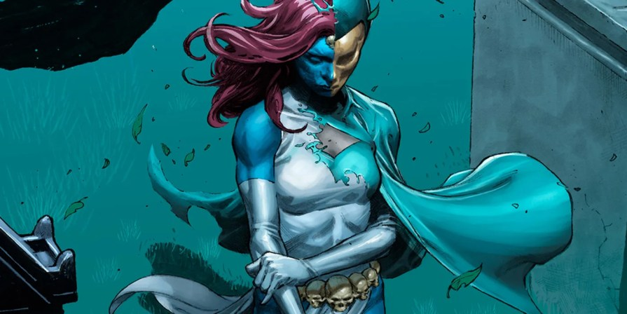Mystique is half transformed into Destiny as she stands over a grave in this alternate cover for Marvel Inferno.
