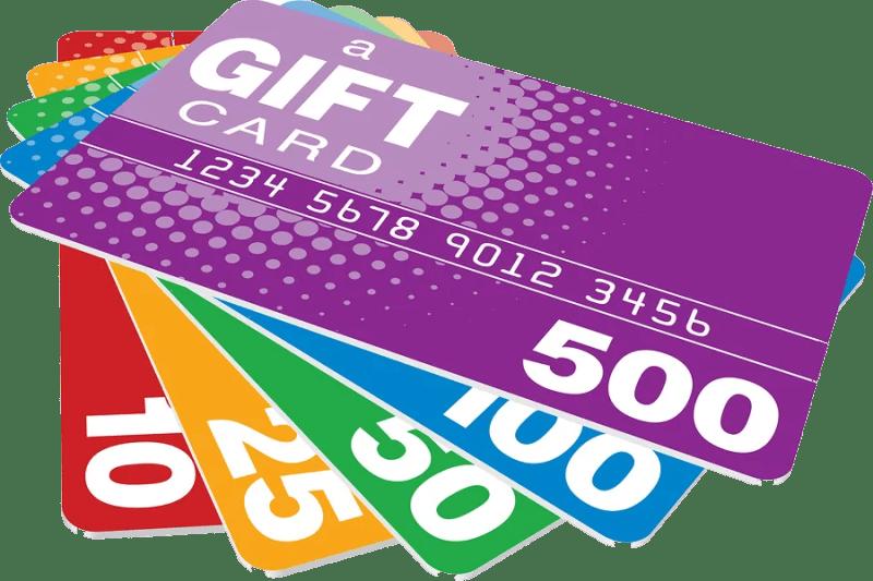 5 cartes-cadeaux superposées d'une valeur de 500,100, 50, 25 et 10