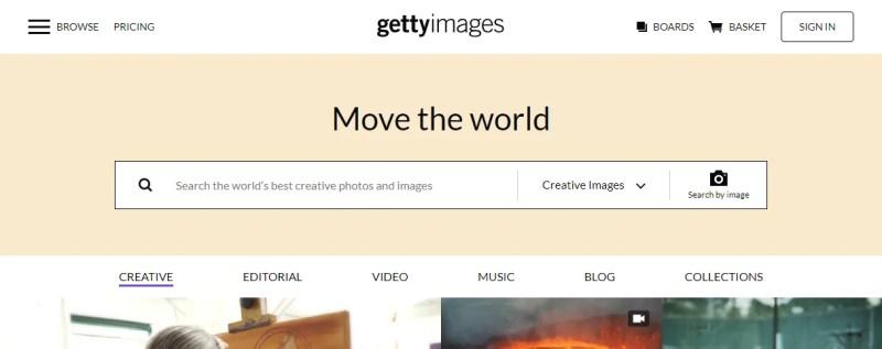 Uno screenshot dello strumento di ricerca inversa delle immagini di Getty Image