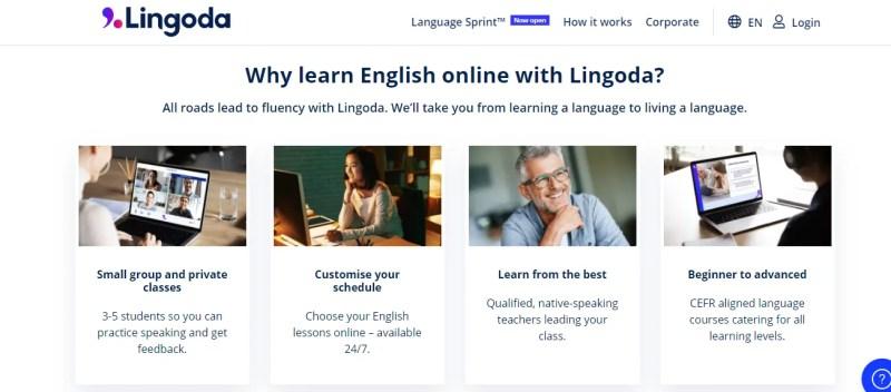 capture d'écran du site lingoda