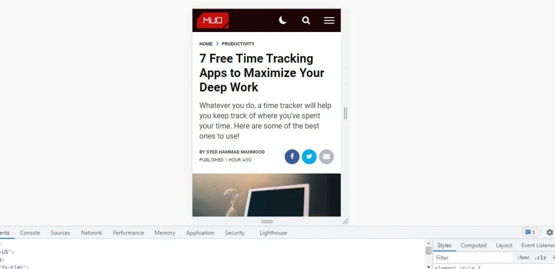 mobile website on desktop with inspect element