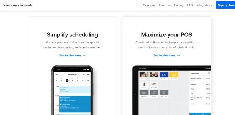 screenshot del sito web di appuntamenti quadrati