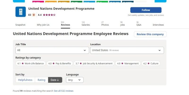 Скриншот страницы отзывов о компании на сайте Indeed