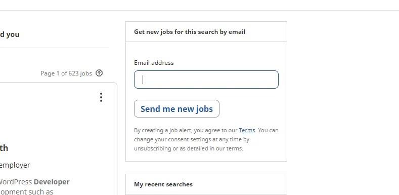 Настройка оповещений о вакансиях на снимке экрана Indeed