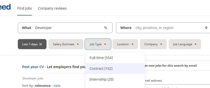 Фильтры вакансий на Indeed