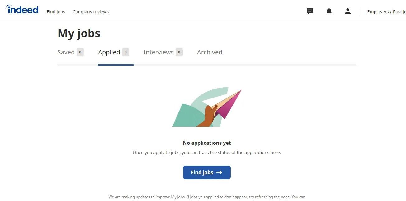 दरअसल माई जॉब्स पेज का स्क्रीनशॉट