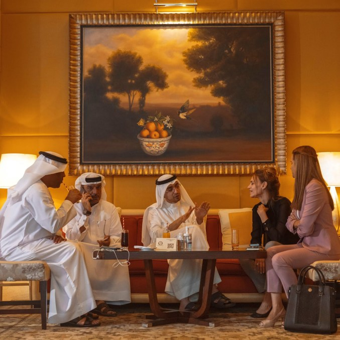 A meeting between Israeli representatives from the J.V.P. fund and Emirati businesspeople.