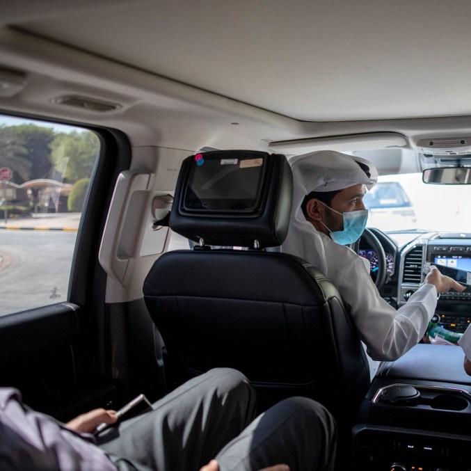 Driving to visit a Dubai technology center.