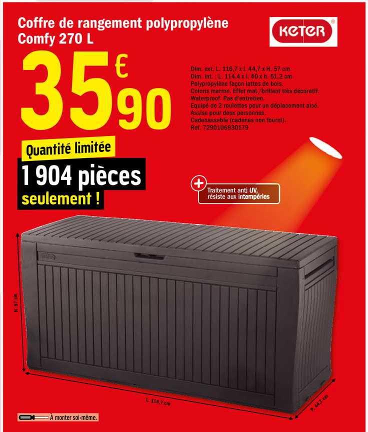 Offre Coffre De Rangement Polypropylene Comfy 270 L Keter Chez Brico Depot