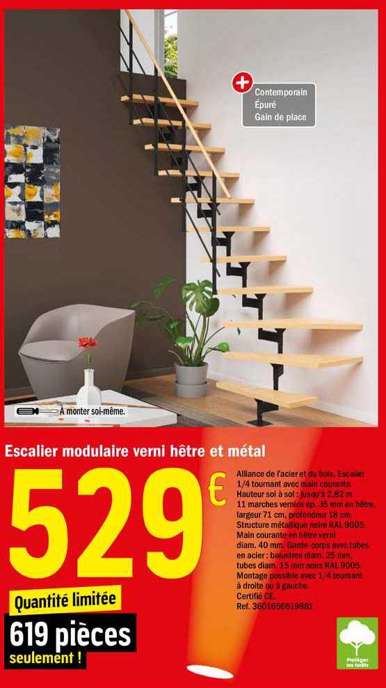 offre escalier modulaire verni hetre et