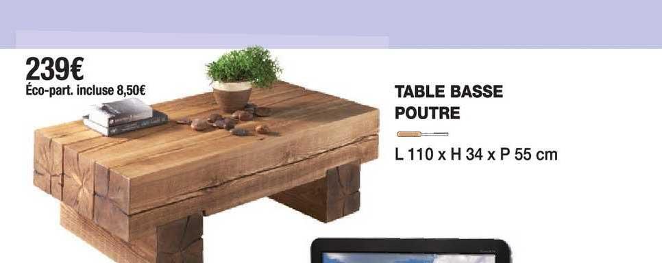 table basse poutre chez cocktail scandinave