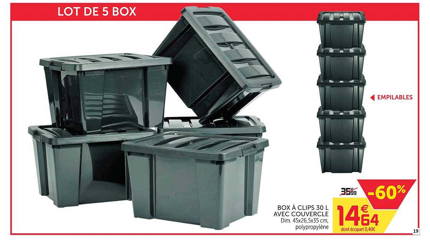 Offre Box A Clips 30 L Avec Couvercle Chez Gifi