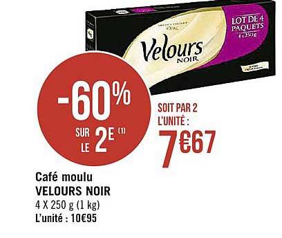 offre cafe moulu velours noir 60 sur