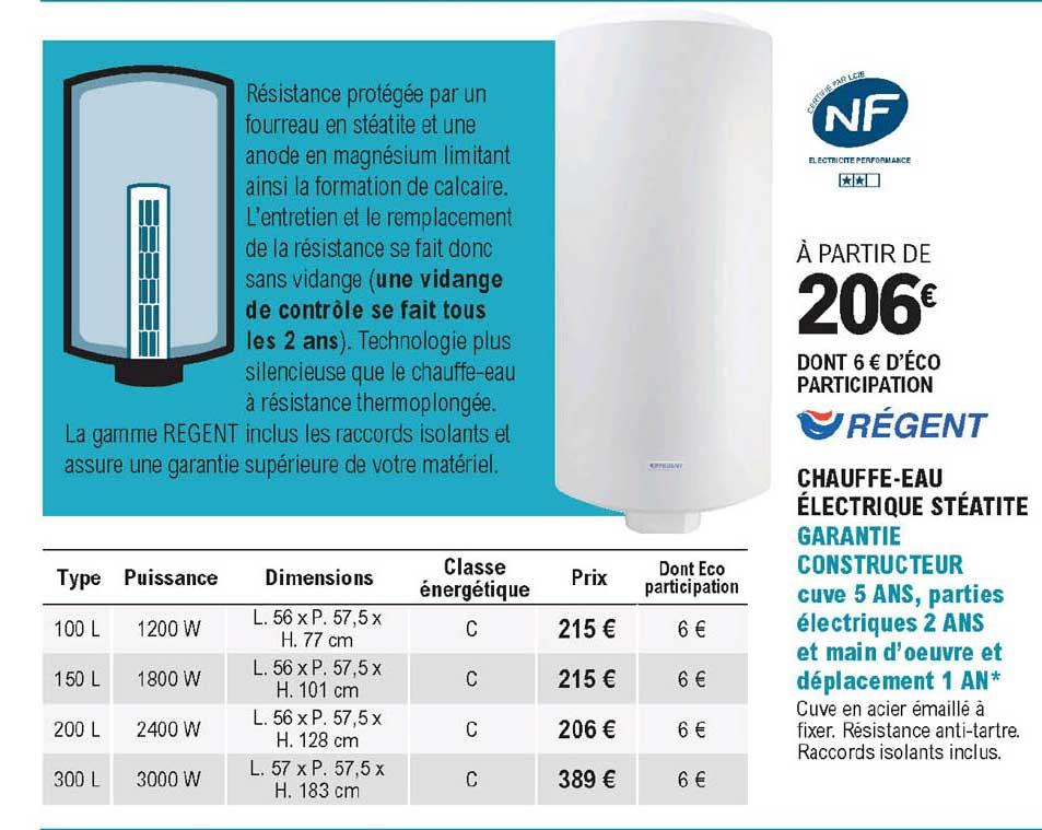 Offre Chauffe Eau Electrique Steatite Regent Chez Eleclerc Brico