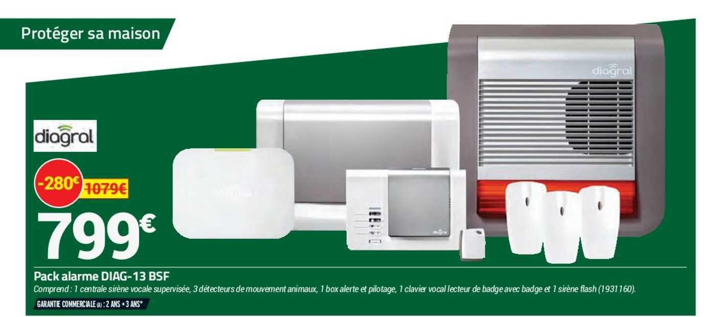 Offre Pack Alarme Diag 13 Bsf Diagral Chez Bricorama
