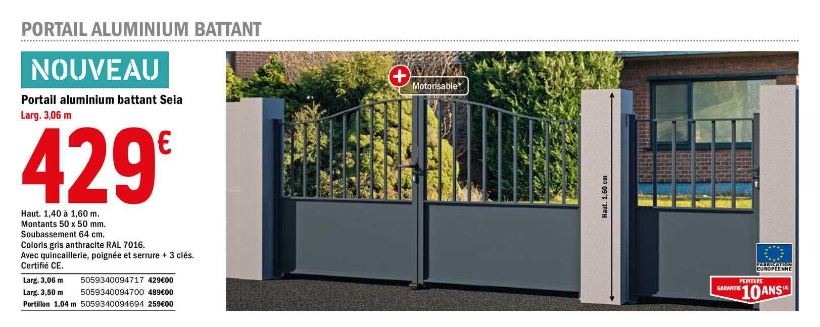 Offre Portail Aluminium Battant Seia Chez Brico Depot