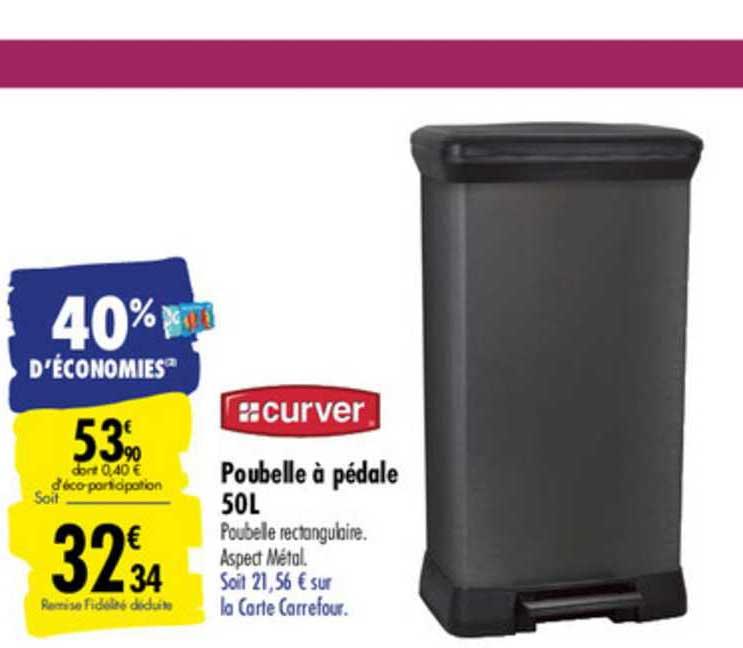 Offre Poubelle A Pedale 50 L Curver Chez Carrefour
