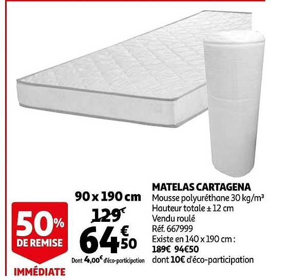 Offre Matelas Cartagena 90 X 190 Cm Chez Auchan Direct