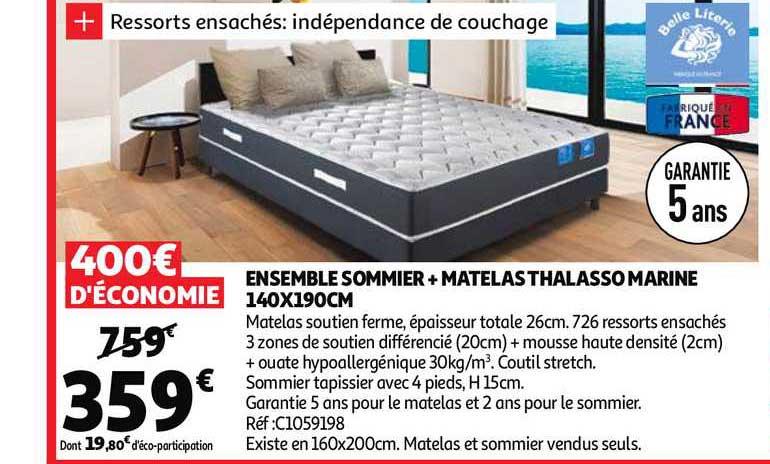 Offre Ensemble Sommier Matelas Thalasso Marine 140 X 190 Cm Chez Auchan Direct