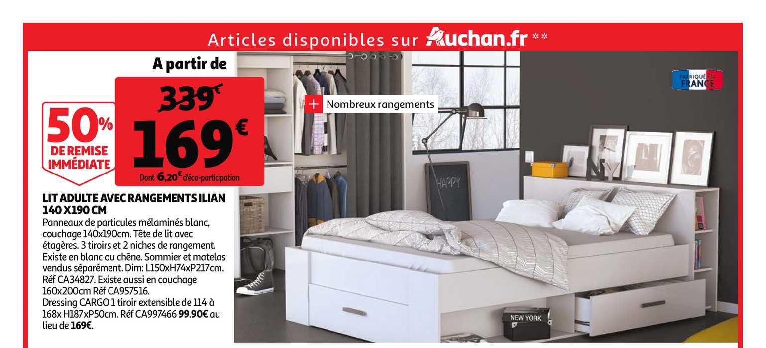 Offre Lit Adulte Avec Rangements Ilian 140 X 190 Cm Chez Auchan Direct