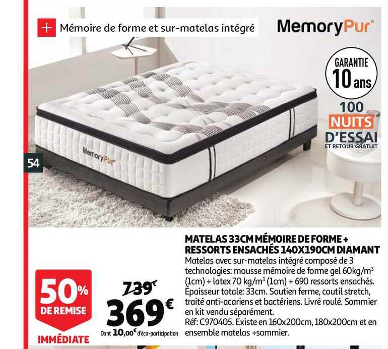 Offre Matelas 33 Cm Memoire De Forme Ressorts Ensaches 140 X 190 Cm Diamant Chez Auchan Direct