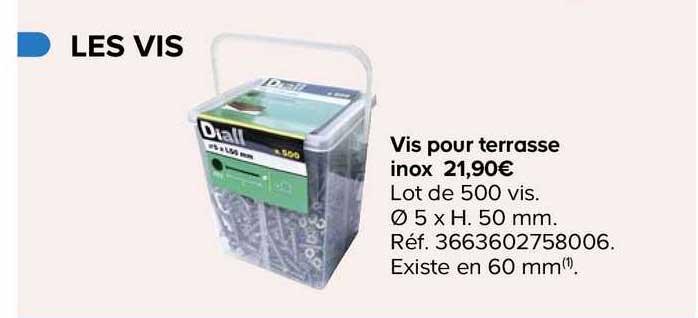 Offre Vis Pour Terrasse Inox Chez Castorama