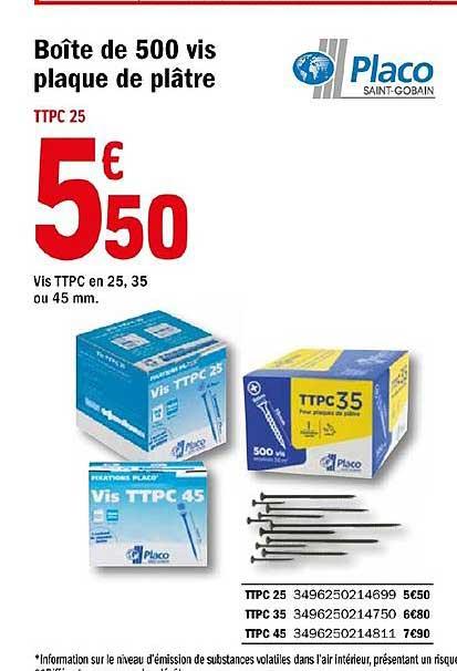 Offre Boite De 500 Vis Plaque De Platre Placo Chez Brico Depot