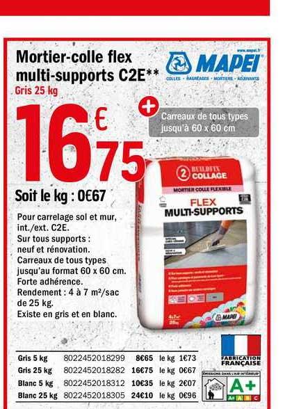 Offre Mortier Colle Flex Multi Supports C2e Mapei Chez Brico Depot