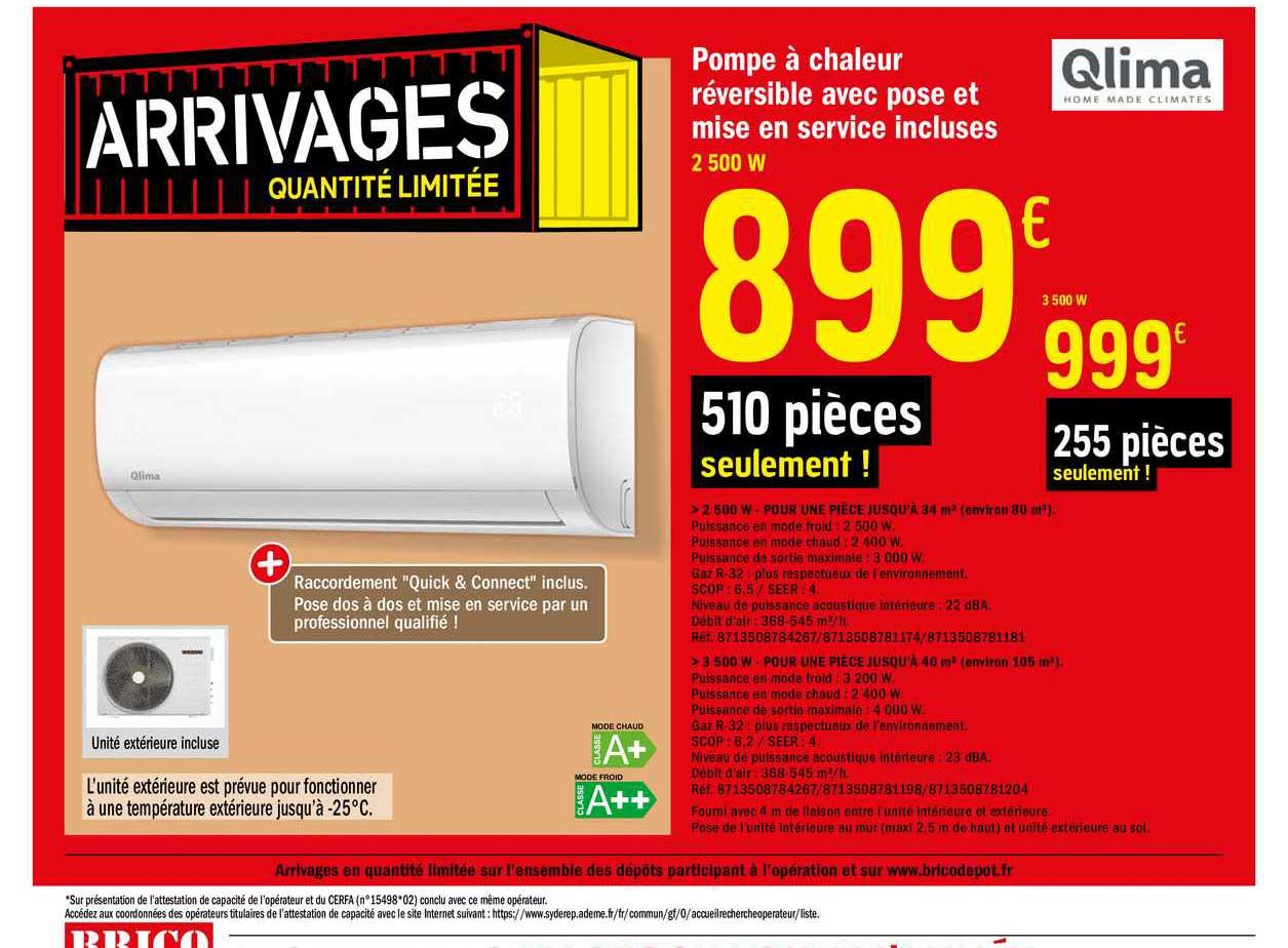 Offre Pompe A Chaleur Reversible Avec Pose Et Mise En Service Incluses Qlima Chez Brico Depot