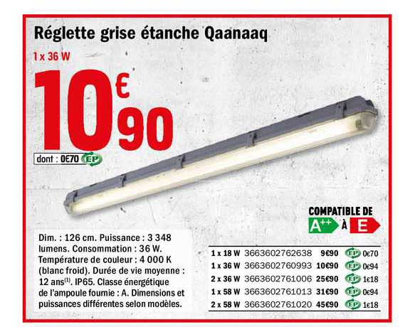 Offre Reglette Grise Etanche Qaanaaq Chez Brico Depot