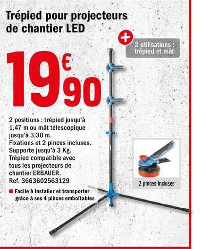 Offre Trepied Pour Projecteurs De Chantier Led Chez Brico Depot