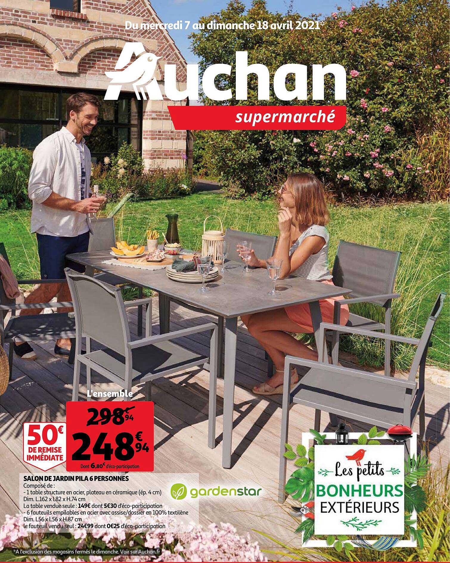 Offre Salon De Jardin Pila 6 Personnes Chez Auchan