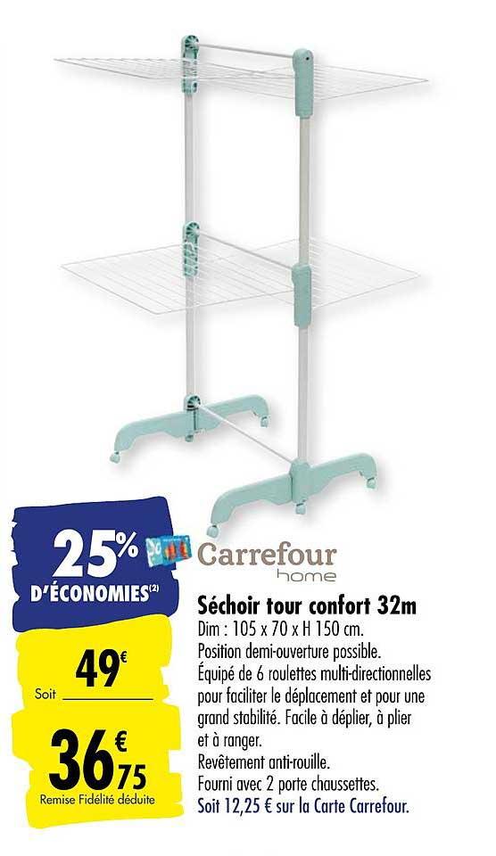 Offre Sechoir Vertical 40m Telescopique Chez Carrefour