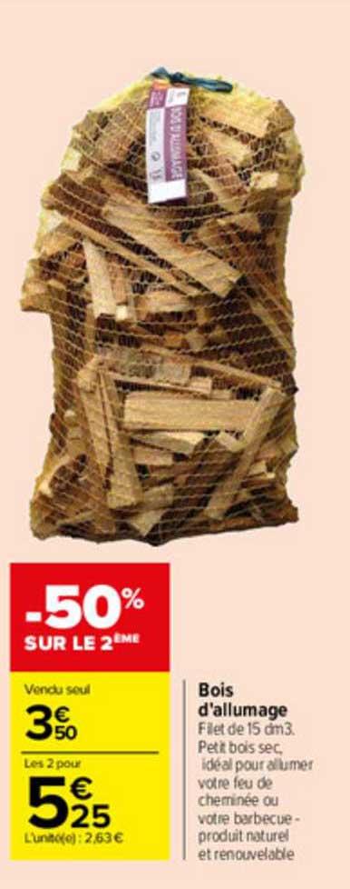 offre bois d allumage chez eleclerc brico