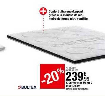 Offre Surmatelas Memo 7 140x190 Cm Bultex Chez But
