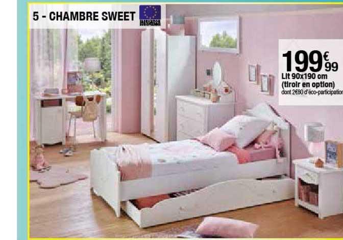offre chambre sweet lit 90x190 cm chez but