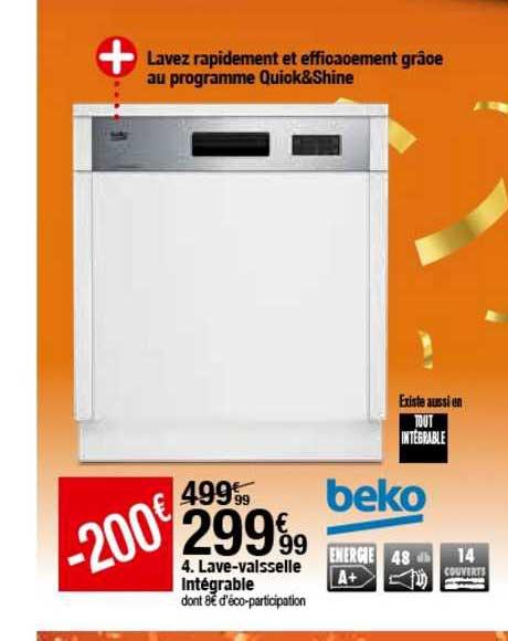 offre lave vaisselle integrable beko