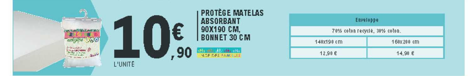 Offre Protege Matelas Absorbant 90x190 Cm Bonnet 30 Cm Chez E Leclerc