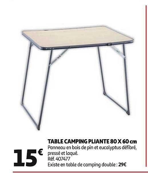 offre table camping pliante 80 x 60 cm