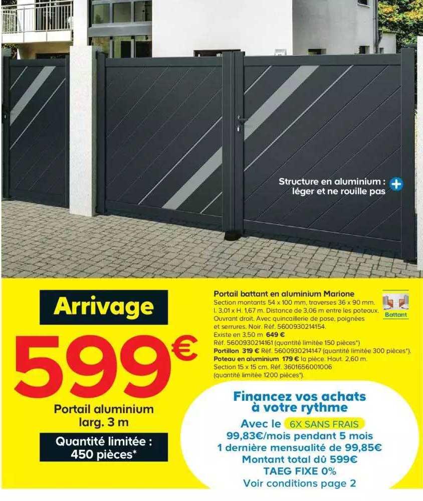 Offre Portail Battant En Aluminium Marione Chez Castorama