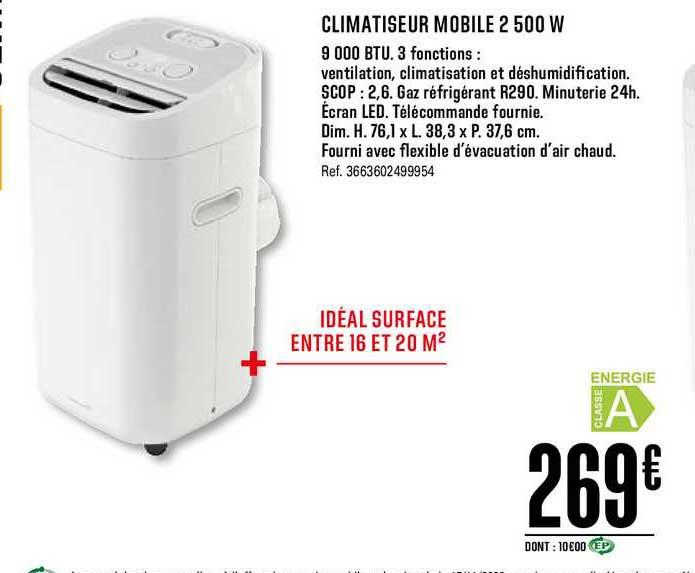 Offre Climatiseur Mobile 2 500 W Chez Brico Depot