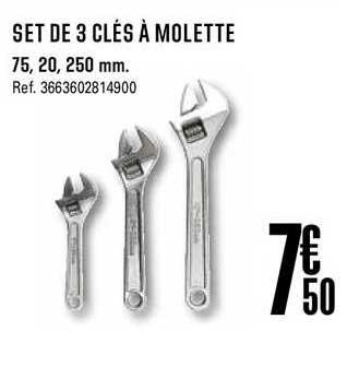Offre Set De 3 Cles A Molette Chez Brico Depot