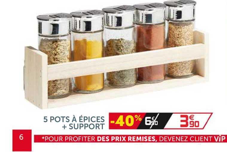Offre 5 Pots A Epices Support Chez Gifi