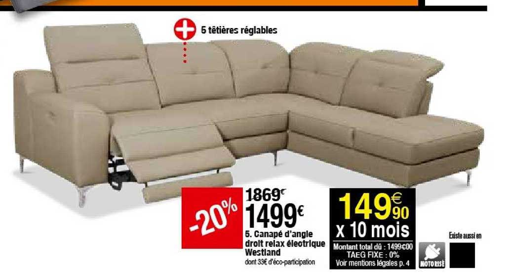 offre canape d angle droit relax